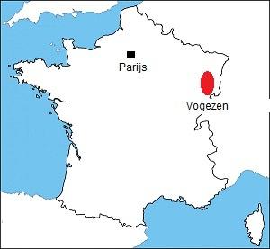 De Vogezen op de kaart van Frankrijk