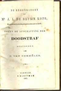 Boek met beschouwingen over het wel of niet afschaffen van de doodstraf (1865)