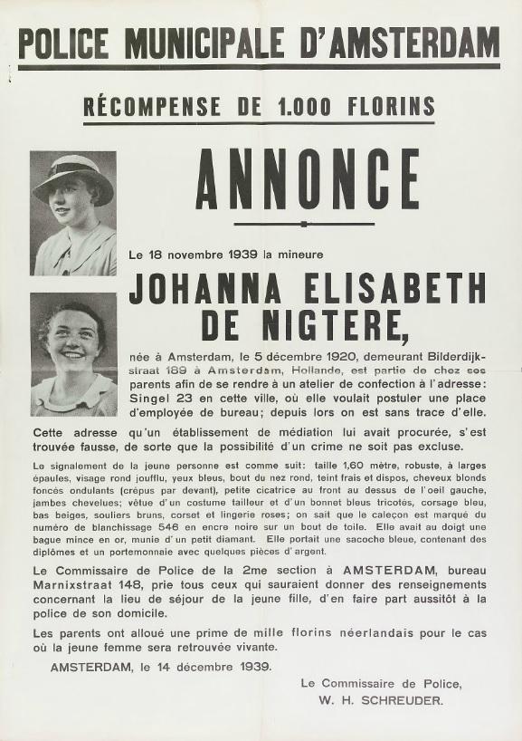 Opsporingsaffiche uit Frankrijk